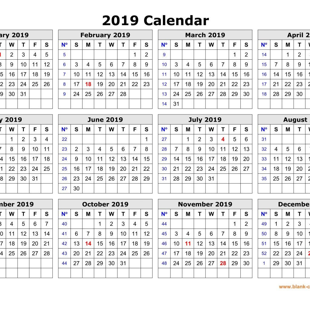 Year To View Calendar 2019 With Printable Free Download