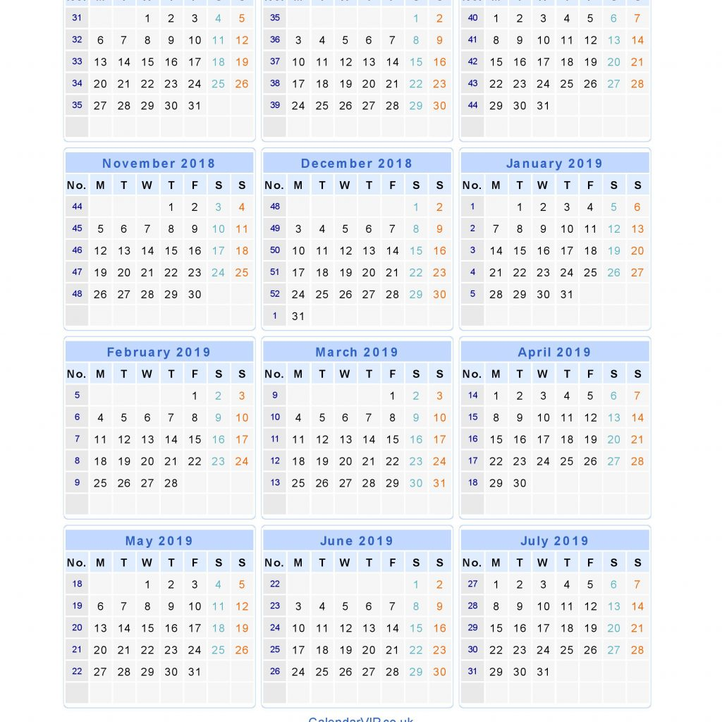 Year To View Calendar 2019 With Printable Uk