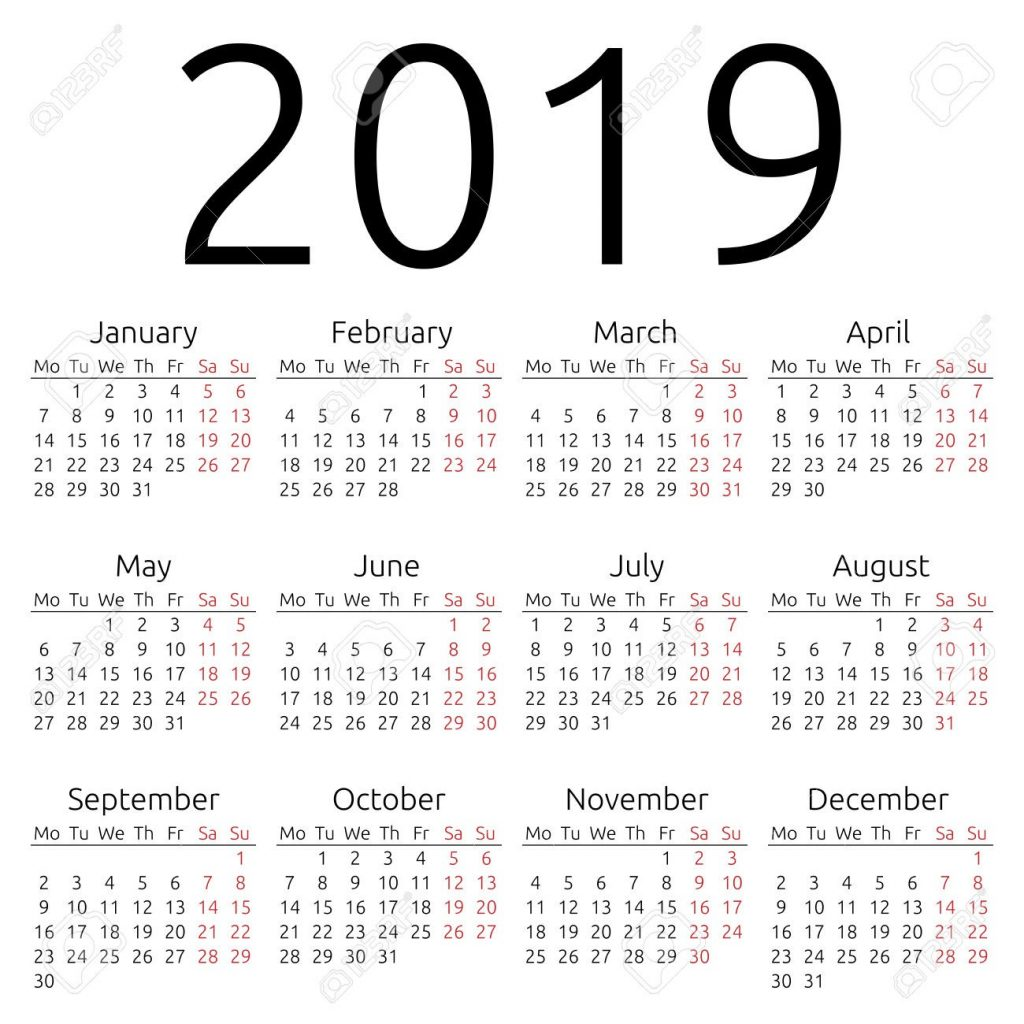 Year To View Calendar 2019 With Printable Yearly