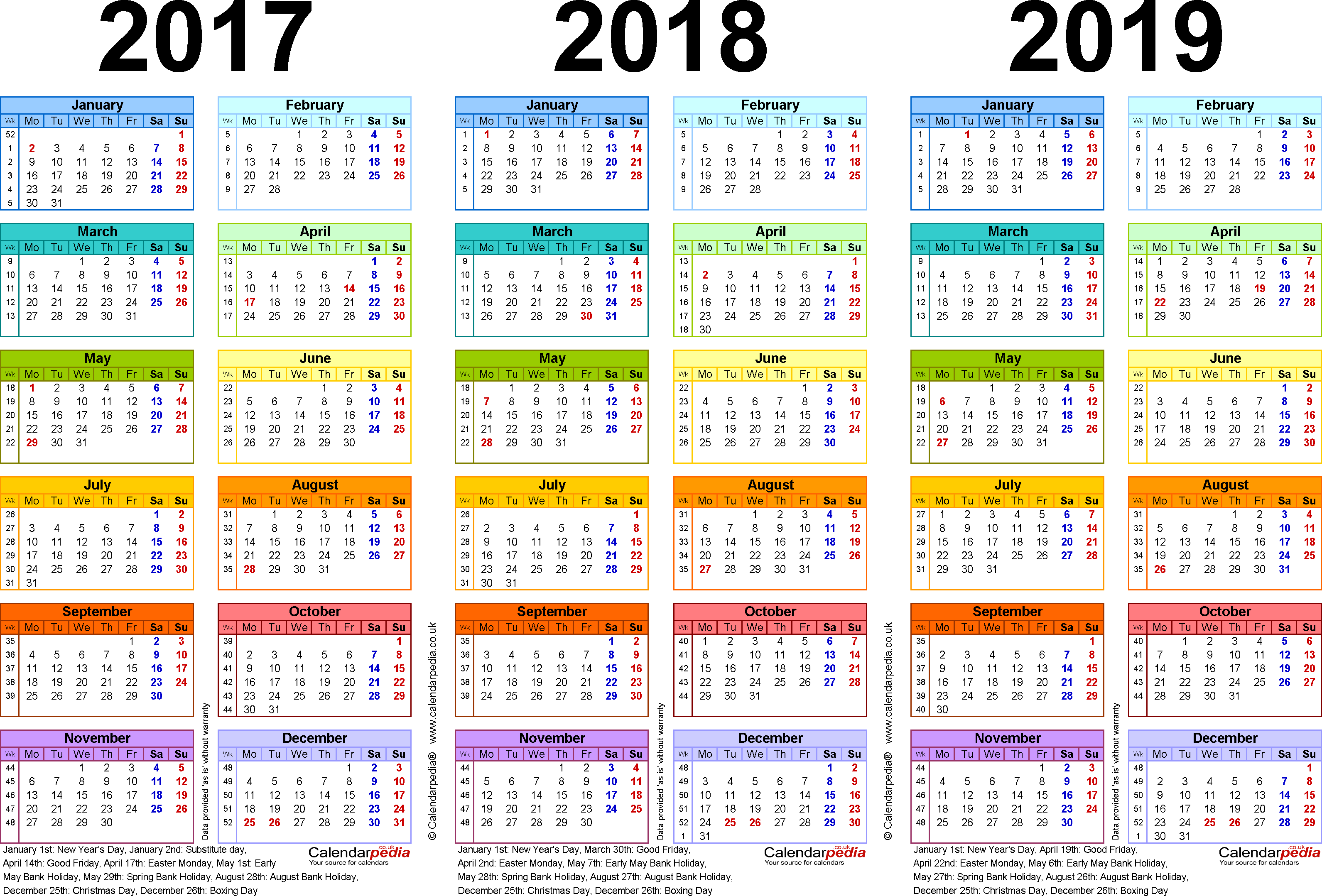 Year To View Calendar 2019 With Three Calendars For 2017 2018 UK Word