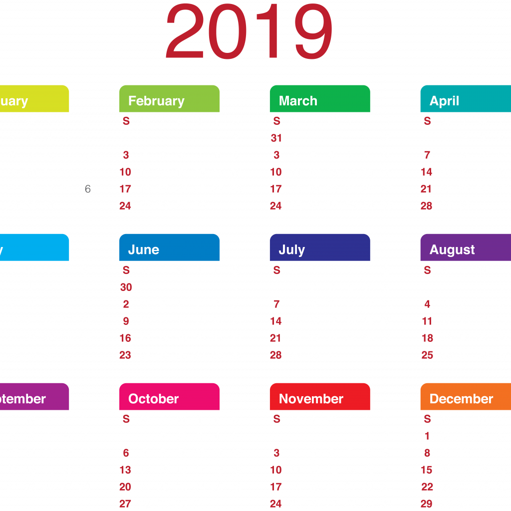 Year To View Calendar 2019 With Transparent PNG Clip Art Gallery Yopriceville