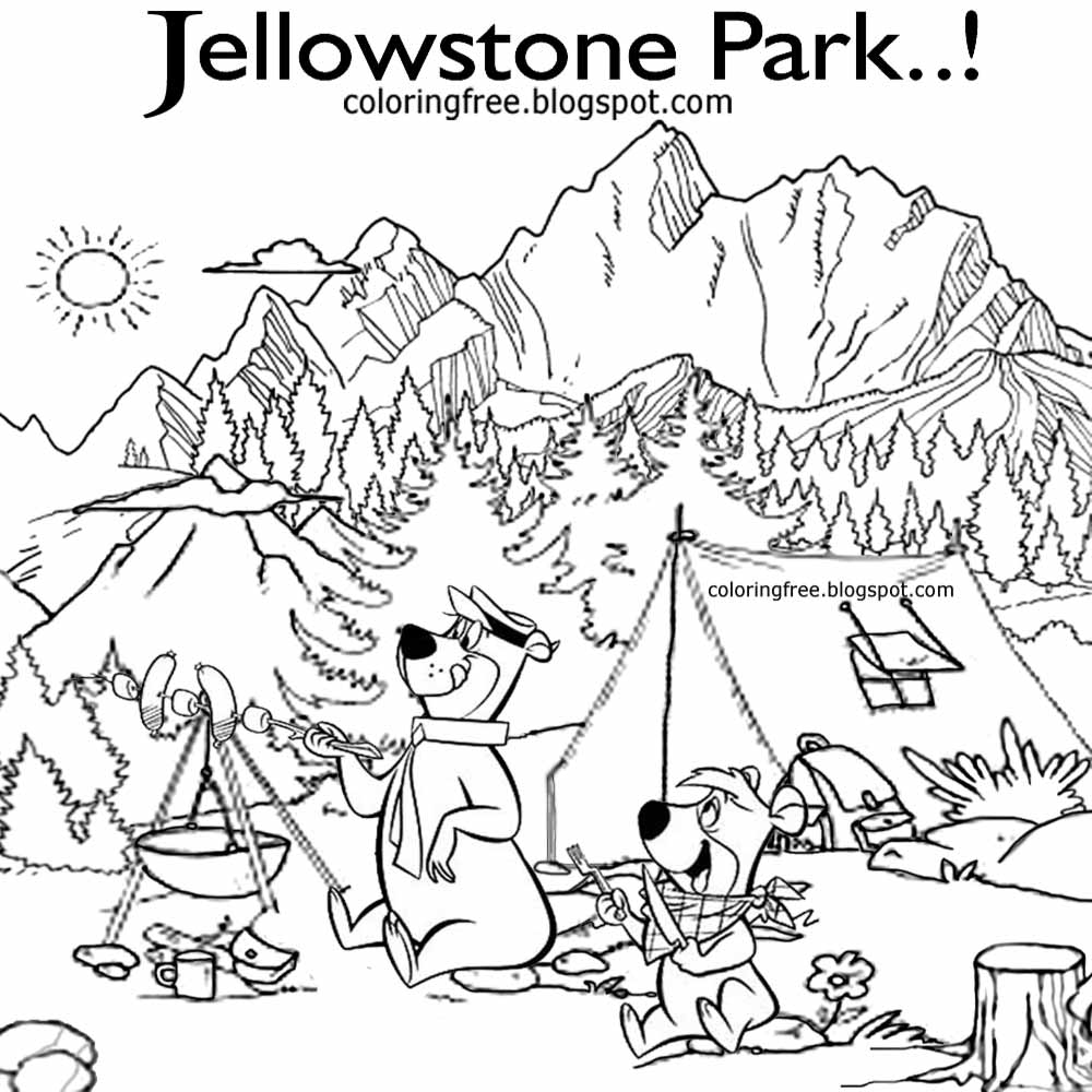 Yogi Bear Christmas Coloring Pages With US Campground Kids Cartoon Characters