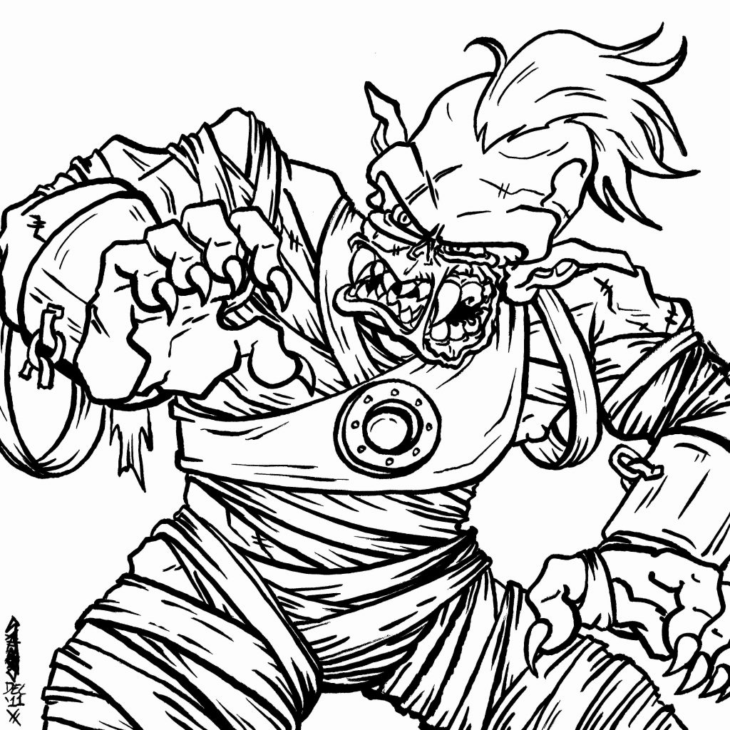 Zombie Santa Coloring Page With A Very Scary To Keep The Halloween Theme