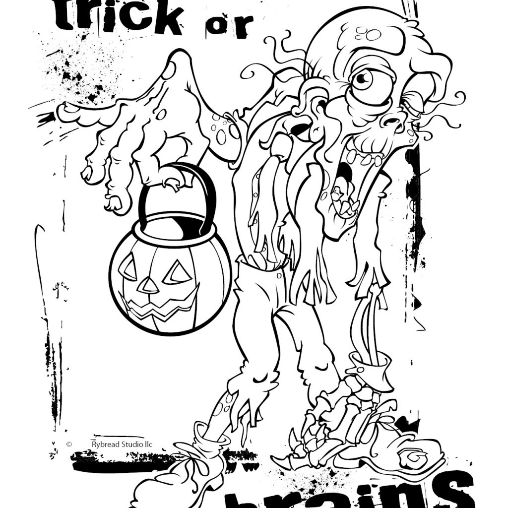 Zombie Santa Coloring Page With Free Printable Halloween Pages Home Design