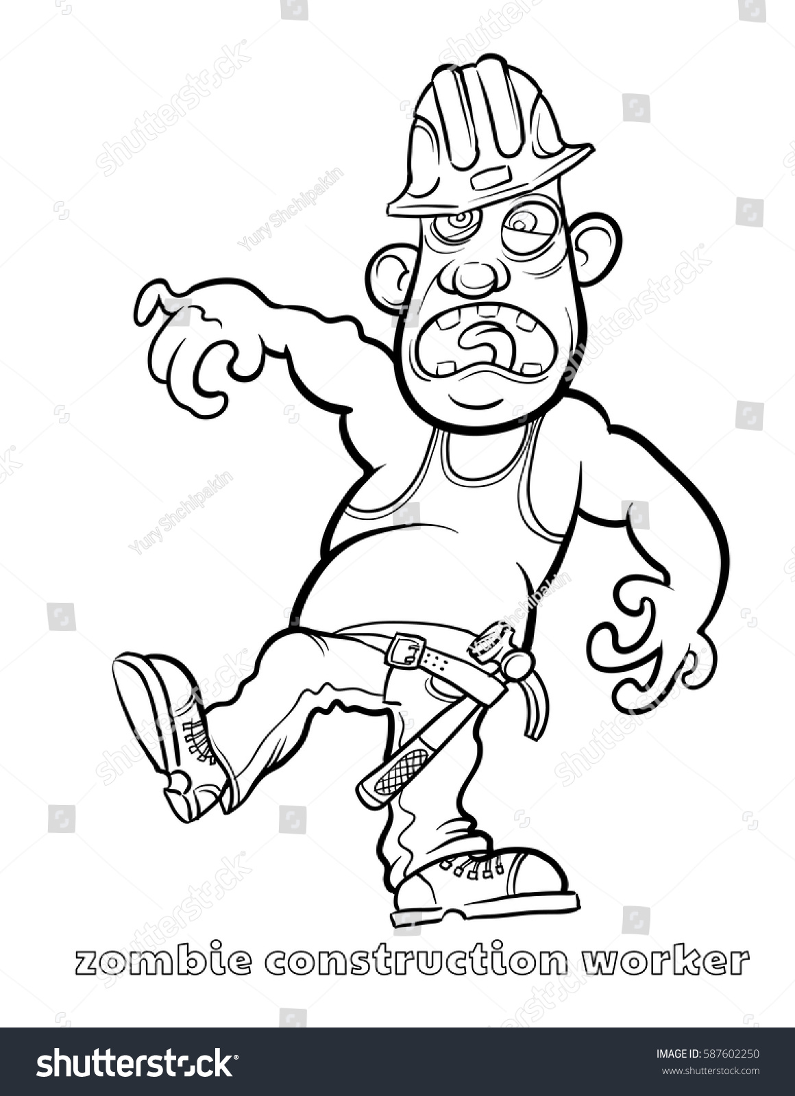 Zombie Santa Coloring Page With Funny Construction Worker Vector Illustration