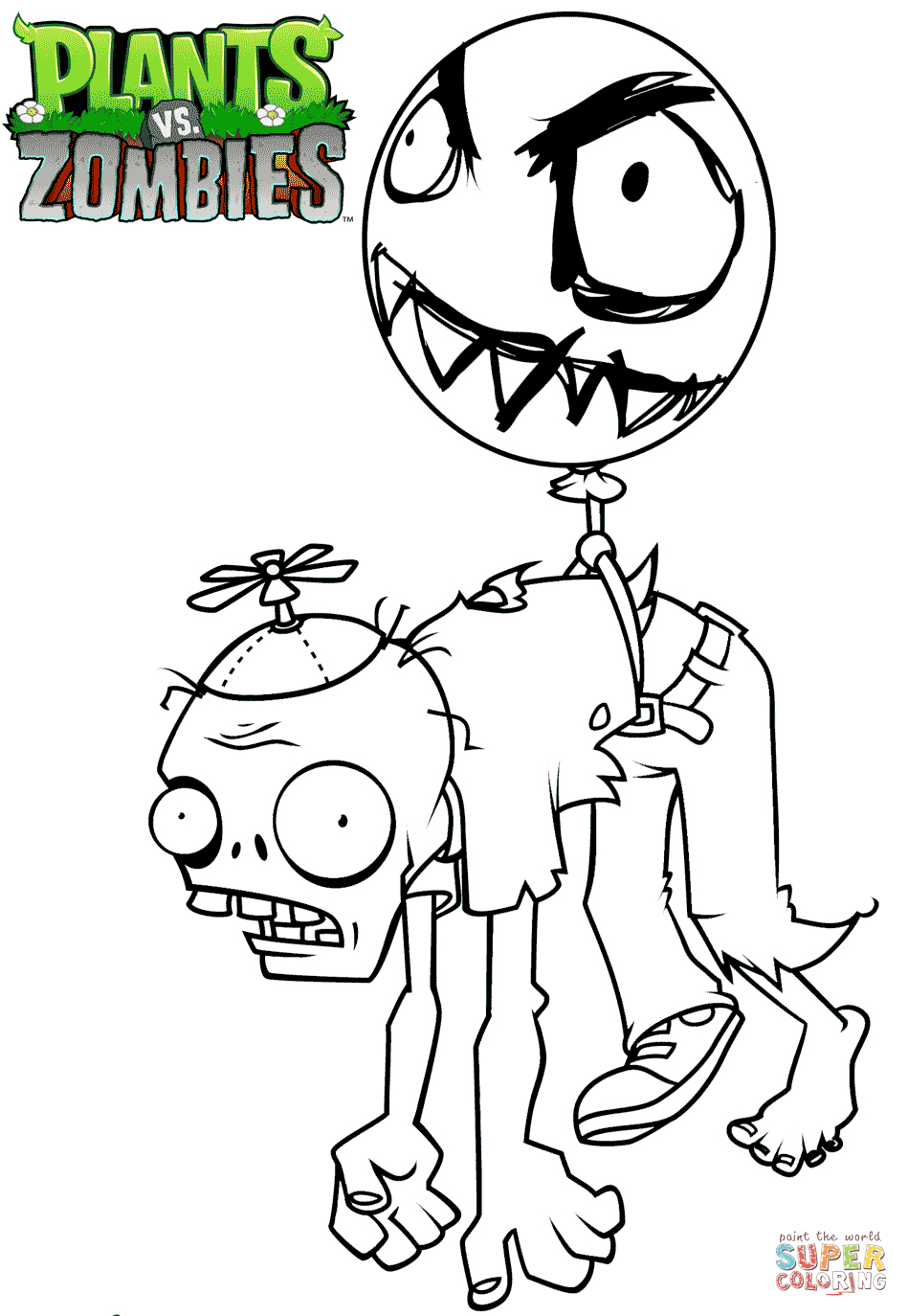 Zombie Santa Coloring Page With Plants Vs Zombies Balloon Free Printable