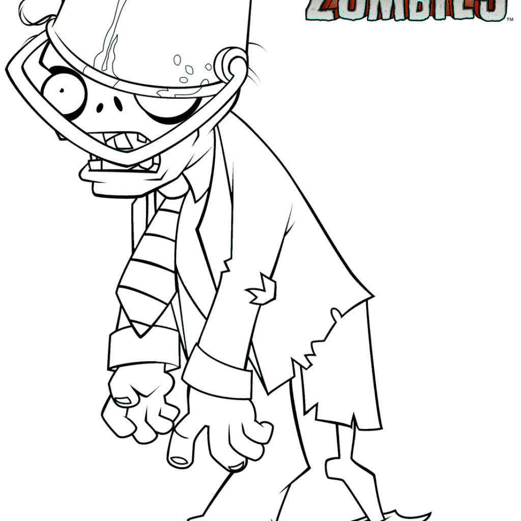 Zombie Santa Coloring Page With Plants Vs Zombies Buckethead Free Printable