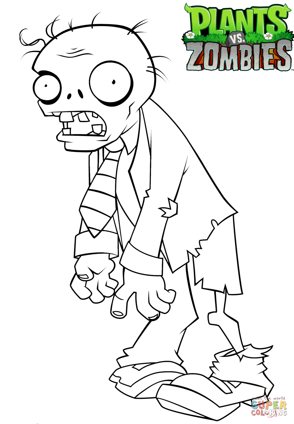 Zombie Santa Coloring Page With Plants Vs Zombies Free Printable Pages