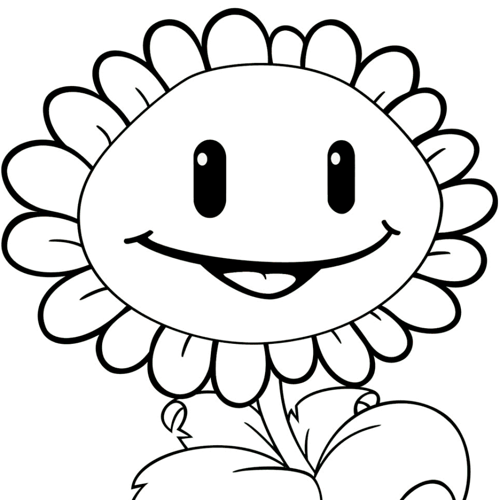 Zombie Santa Coloring Page With Plants Vs Zombies Sunflower Free Printable