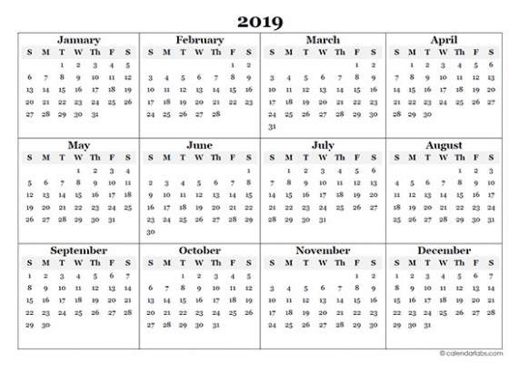 12 Blank Yearly Calendar Template Free Printable Templates ...