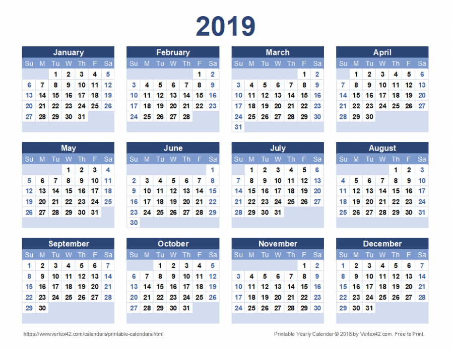 12 Calendar Templates and Images - Blank Year Calendar 2019