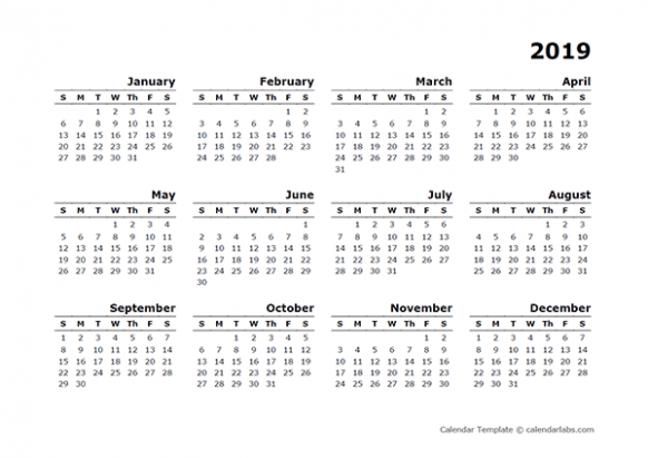 12 Yearly Calendar Blank Minimal Design – Free Printable Templates – Blank Year Calendar 2019
