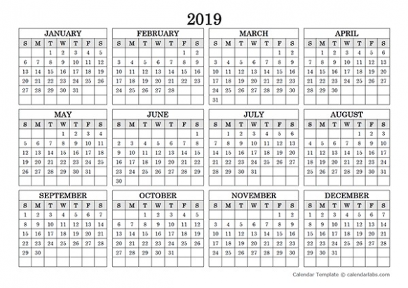 12 Yearly Calendar Printable Landscape 12 Blank Yearly Calendar ..