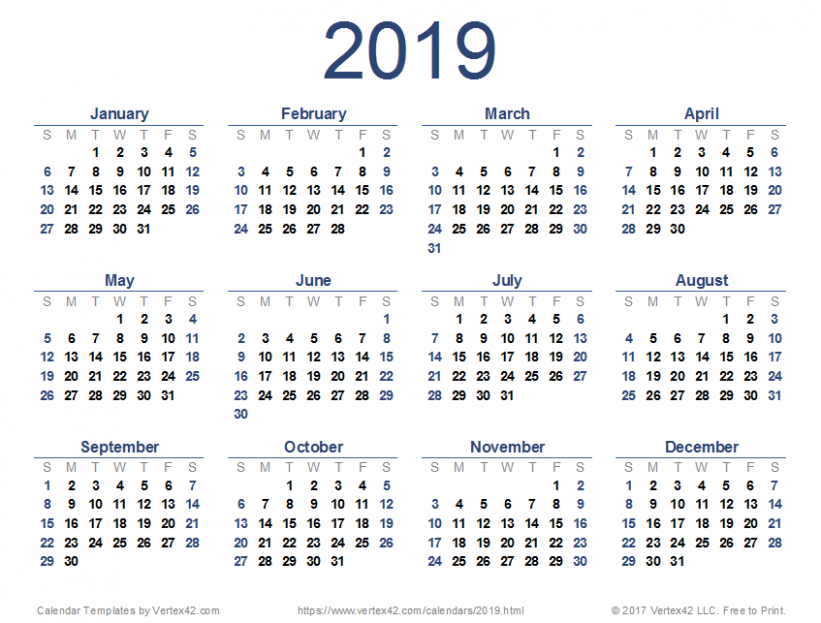 13 Calendar Templates and Images – Fiscal Year 2019 Calendar Pdf