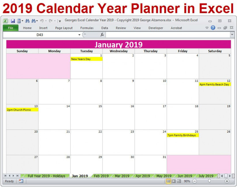 13 Calendar Year Printable Planner Excel Templates 13 | Etsy – 2019 Calendar By Year