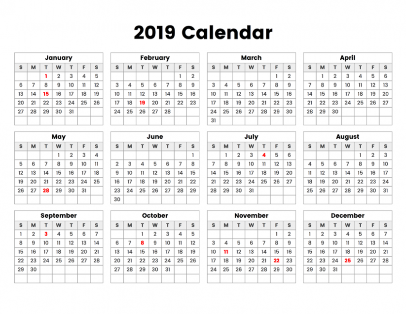 13 Year Calendar With Holidays – 2019 Calendar By Year