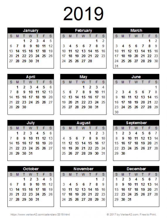 14 Calendar Templates and Images – Calendar For Year 2019 Malaysia