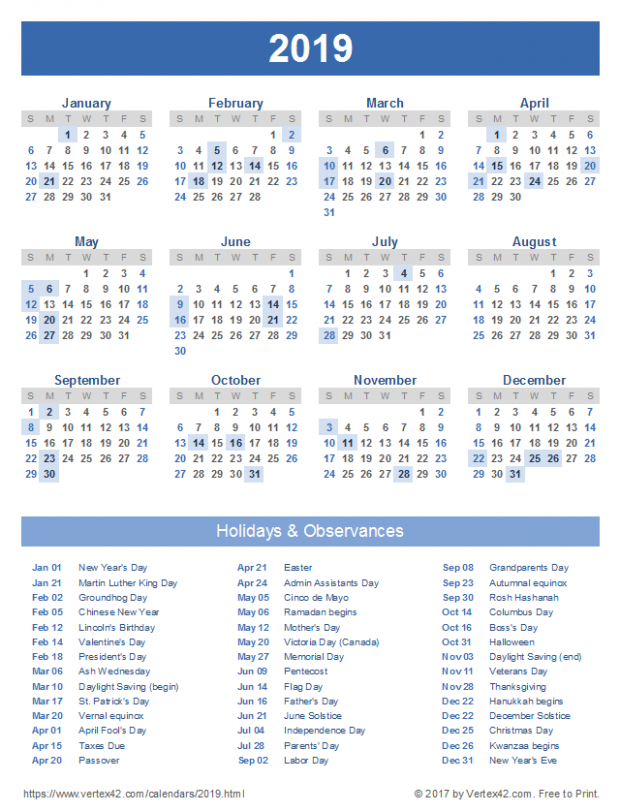 14 Calendar Templates and Images – Free Printable 2019 Year Calendar With Holidays