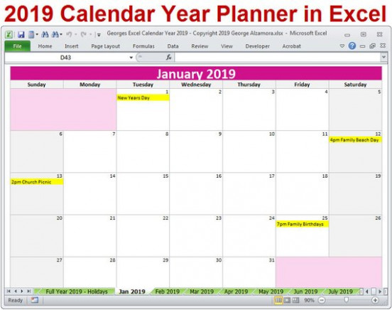 14 Calendar Year Printable Planner Excel Templates 14 | Etsy