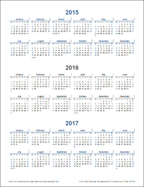 14-Year Calendar Template for Excel
