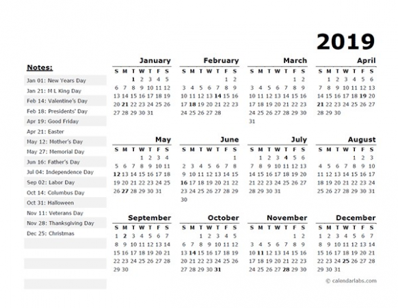 14 Year Calendar Template With US Holidays Free Printable ..