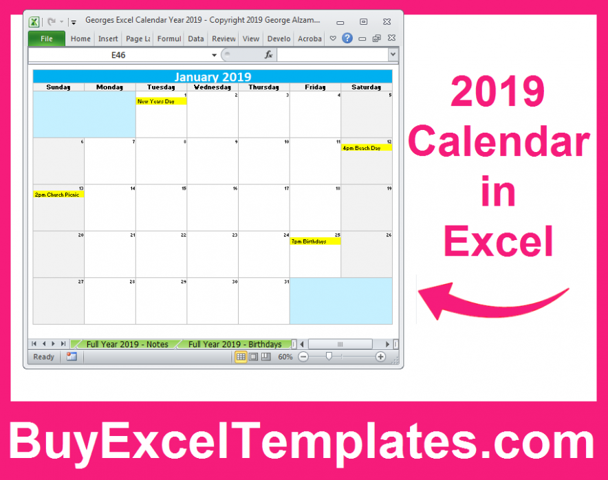 15 Calendar Printable Yearly Monthly Editable Excel Digital ...