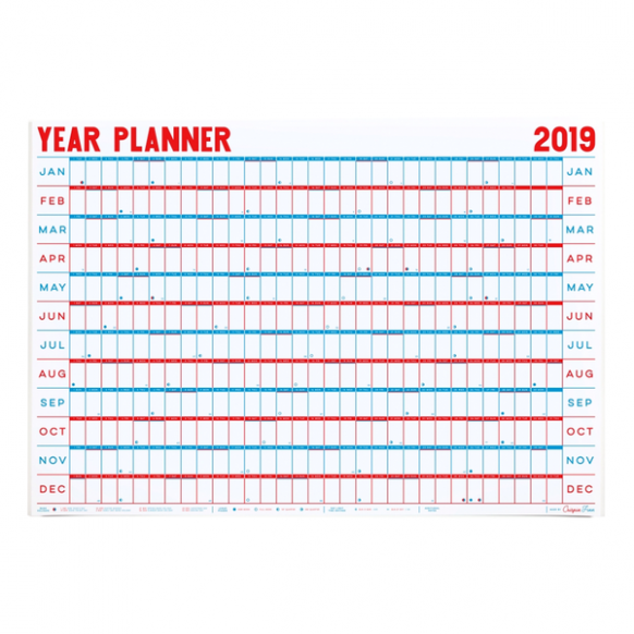 15 Year Planner Wall Calendar by Crispin Finn – Little Otsu – 2019 Year Wall Calendar