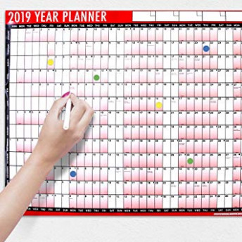 155 A15 Laminated Yearly Wall Planner Calendar With Wipe Dry Pen ..