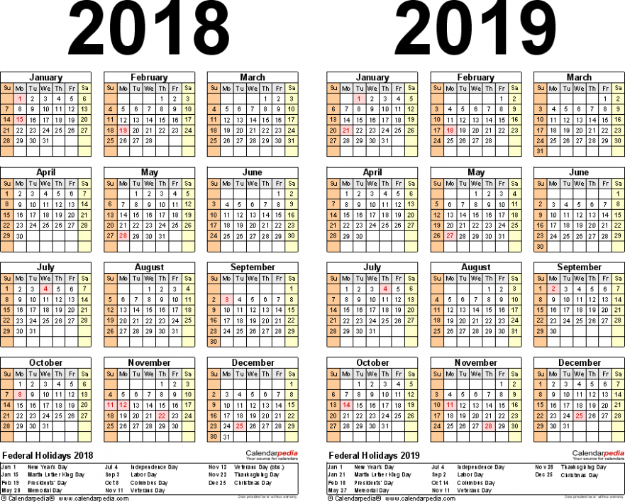 16-16 Calendar – free printable two-year Word calendars – 2019 Year Calendar Word