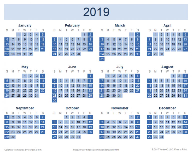 16 Calendar Templates and Images - 2019 Full Year Calendar Template