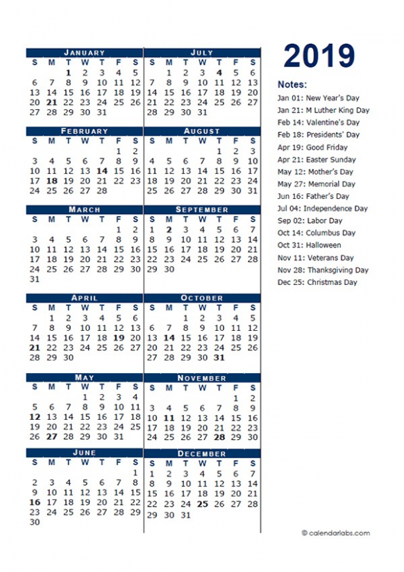16 Full Year Calendar Template Half Page Free Printable Templates ..