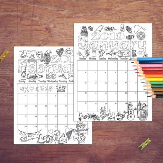 17 Coloring Calendar Coloring pages Instant digital | Etsy – 2019 Calendar Coloring Pages