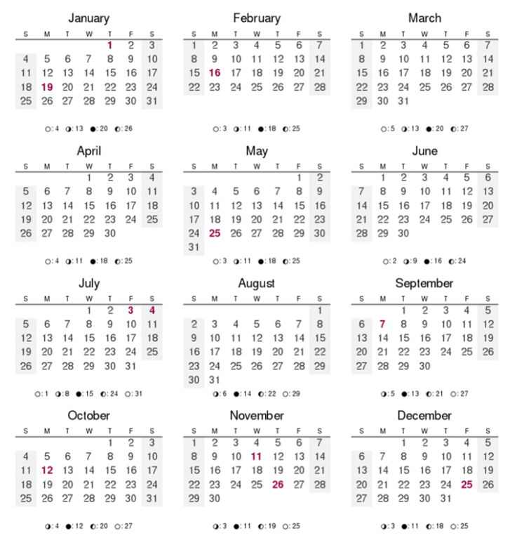 17 Months of the Year – Calendar For Year 2019 Croatia