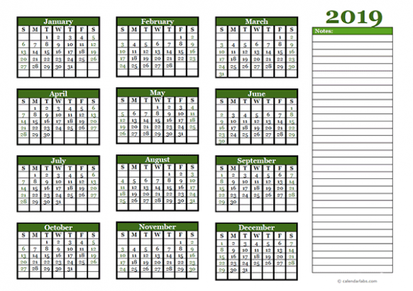 17 Yearly Calendar With Blank Notes - Free Printable Templates