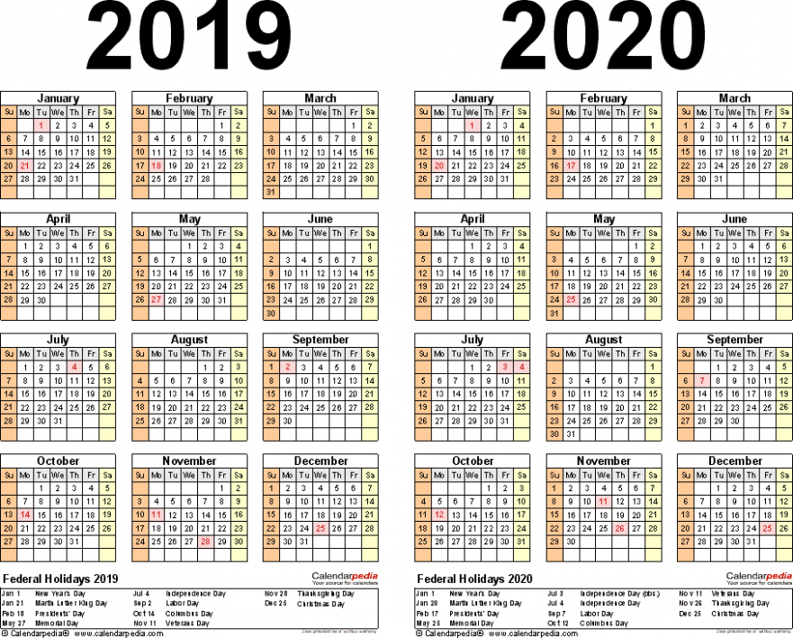 18-18 Calendar – free printable two-year PDF calendars – Year 2019 Calendar Philippines With Holidays