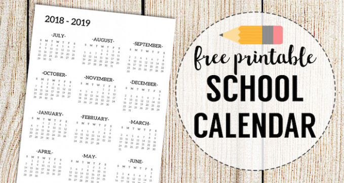 18-18 School Calendar Printable Free Template – Paper Trail Design – 2019 School Year Calendar Template