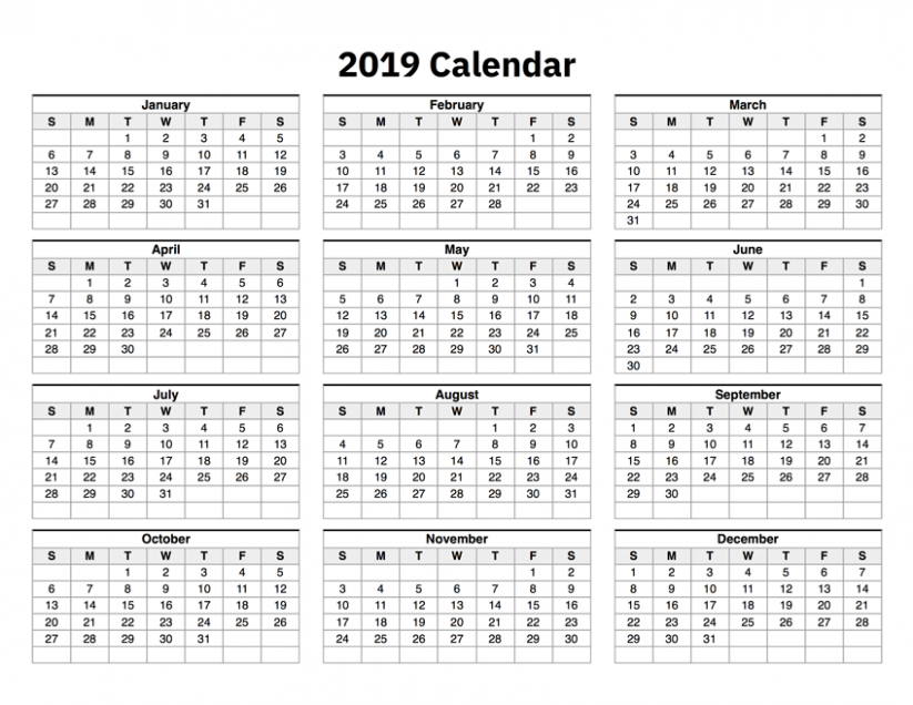 18 Calendar One Page – 2019 Year Calendar One Page