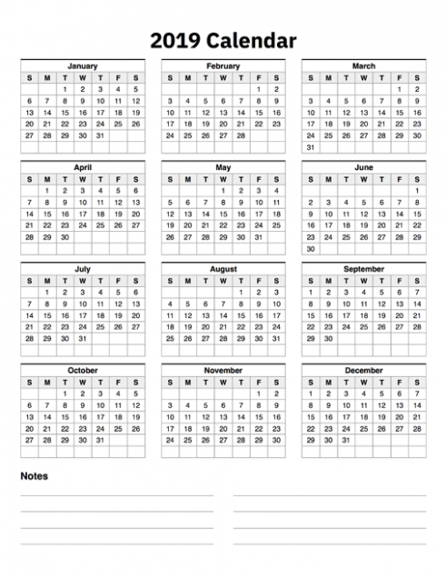 18 Calendar One Page With Notes
