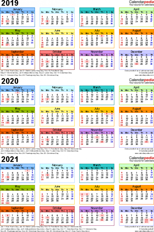 19/19/19 calendar – 19 three-year printable PDF calendars – Year Calendar 2019