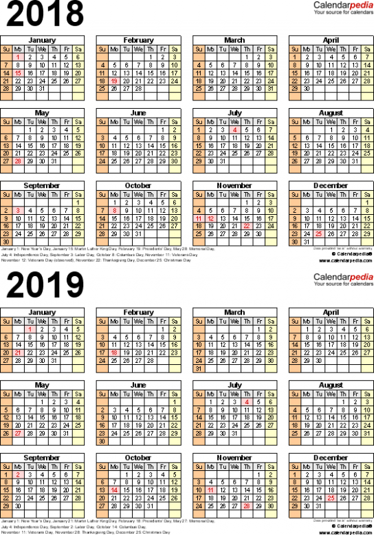 19-19 Calendar – free printable two-year PDF calendars – 2019 Calendar Year To A Page