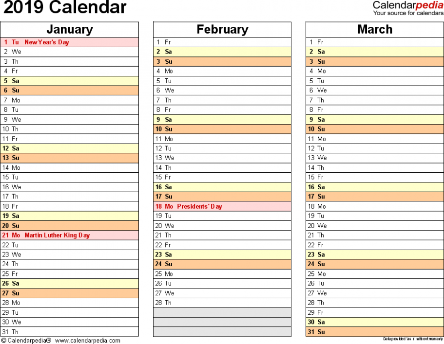19 Calendar – Download 19 free printable Excel templates (