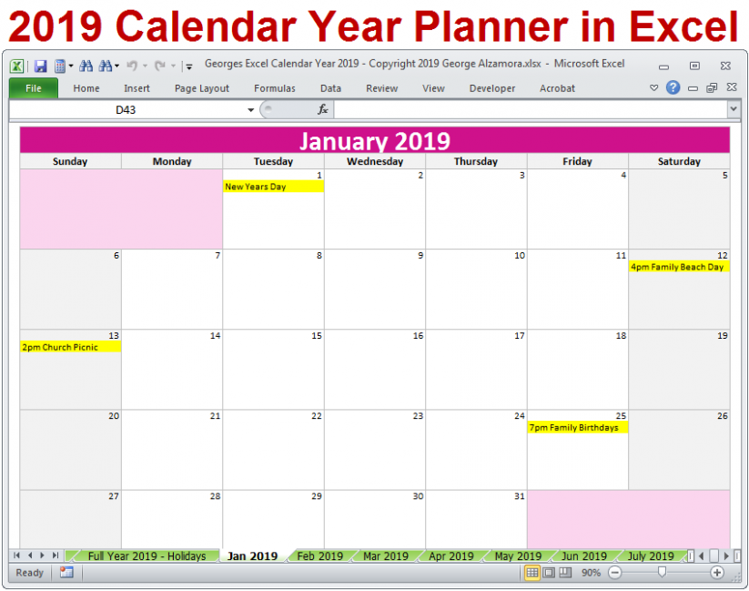 19 Calendar Printable Yearly Monthly Editable Excel Digital ..