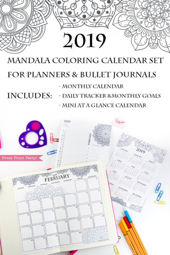 19 Calendar Set Printable, Mandala Coloring Design - Press Print ...
