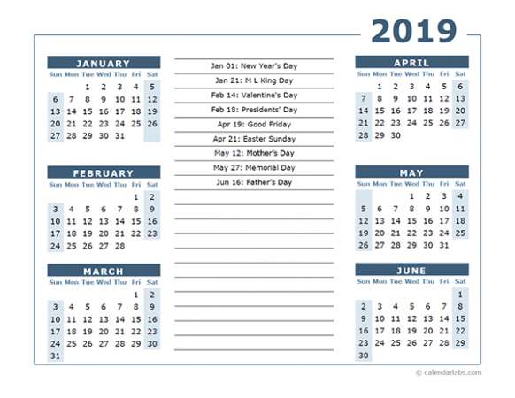 19 Calendar Template 19 Months Per Page – Free Printable Templates – 2019 Calendar Year To A Page