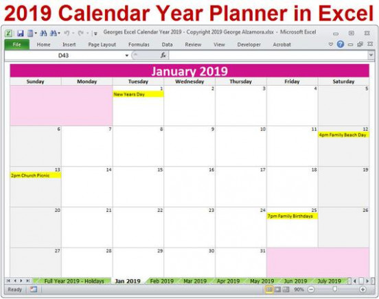 19 Calendar Year Printable Planner Excel Templates 19 | Etsy – 2019 Calendar Year To A Page