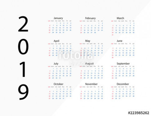 19 new year. Calendar on 19 year. Template calendar 19 year ..