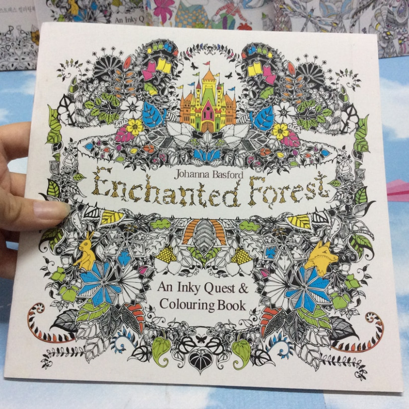 19 Page coloring book Enchanted Forest kids books Antistress Adult ...