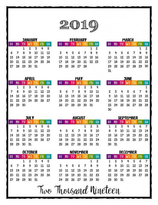 19 PRINTABLE Caribbean Color Calendar 19 Wall Calendar - Full ...
