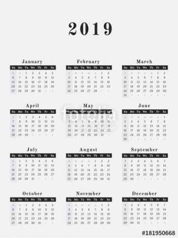 "19 Year Calendar horizontal design"" Stock image and royalty-free .."