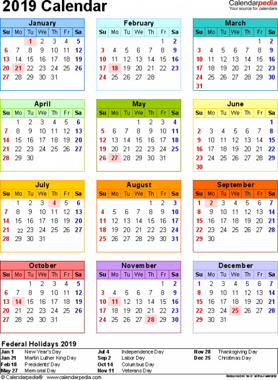 20 Calendar – Download 20 free printable Excel templates (